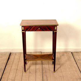 Rect  Walnut Single Drawer Lamp Table with Brass Edge (H72Cm  x  W49Cm  x  D30Cm)