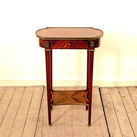 Lozenge Shaped Walnut & Mahogany Lamp Table with Drawer & Brass Edge Trim (H72Cm  x  W50Cm  x  D31Cm)