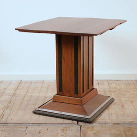 Oak Sq Ped Base Lamp Table with Green  Lines (H63Cm  x  W67Cm  x  D59Cm)
