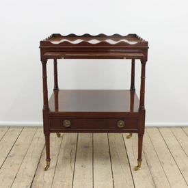 Mahogany Sq 2-Tier Lamp Table with 1-Drawer Pull Out Shelf & Scalloped Gallery (H64Cm  x  W48Cm  x  D44Cm)