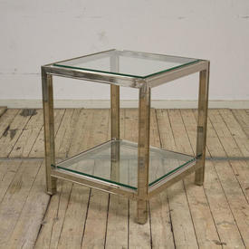 "1'10"" Square Polished Chrome 2-Tier Lamp Table with Glass Shelves"