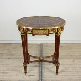 Mah inlaid & Brass Oval Lamp Table (H78Cm  x  W67Cm  x  D44Cm)