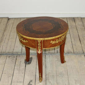 Circular Mahogany Marquetry & Brass inlaid Lamp Table (H48Cm  x  W&D50Cm)