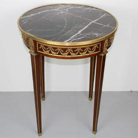 Mahogany & Bronze Decor, Circ Lamp Table with Marble Top on Tapered Legs  (H73Cm  x  W&D56Cm)