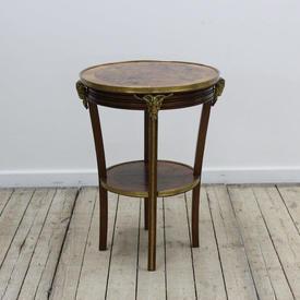 Circ  Burr Walnut Lamp Table with Brass Rim & Ram Decor with Undershelf (H55Cm  x  W&D40Cm)