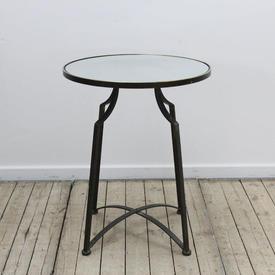 "20"" Cir Mirrored Top Metal Legs Lamp Table"