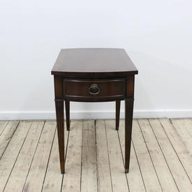 Rect  Mahogany Single Drawer Lamp Table with Tapered Legs