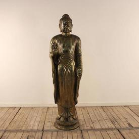 "5'8"" Brass Standing Buddha"