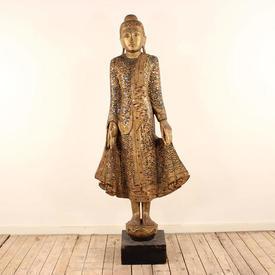 """6'8"""" Gilt And Mirrored Standing Buddha"""