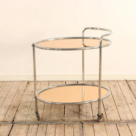 Chrome Deco 2 Tier Tea Trolley with Peach Coloured Glass