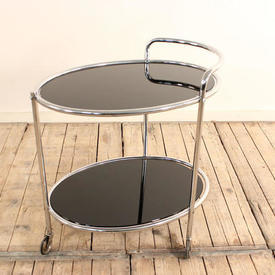 Chrome Deco 2 Tier Tea Trolley with Black Glass