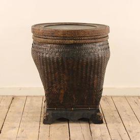 Wicker Circular Linen Basket And Lid
