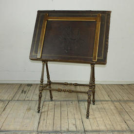 Walnut And Gilt Decor Reeded & Turned Frame Portfolio Stand with Brown Leather Embossed Top