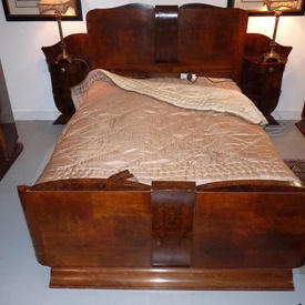 "4'6"" Walnut Deco Complete Bed with 2 Attached Bedside Cabinets"