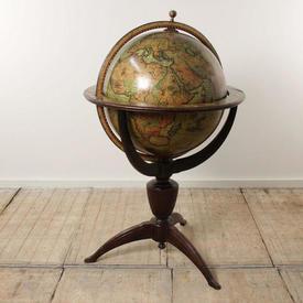 Globe Of The World on Mahogany Pedestal Base