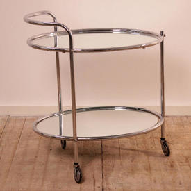 Chrome Deco 2 Tier Tea Trolley with 2  x  Mirror Shelves