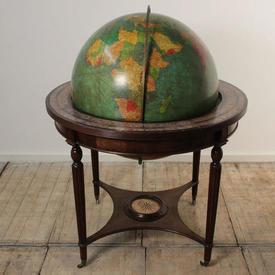 "4'6"" Globe Of The World on Mahogany Base with Compass"