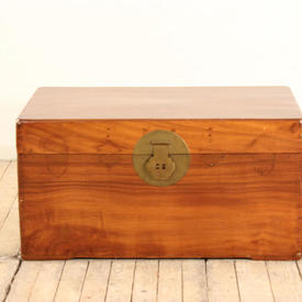 "2'10"" Polished Mahogany Chest with Brass Lock"