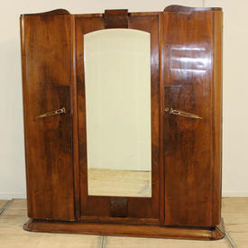 "6'6""  x  6' Walnut Deco Wardrobe with Mirrored Centre Panel, with 4  x  Brass Head, Locking Bolts"