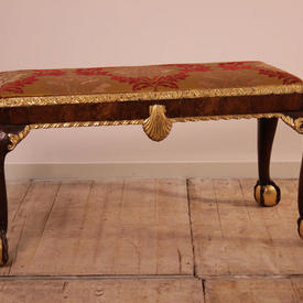 Walnut & Gilt Stool Tapestry Seat