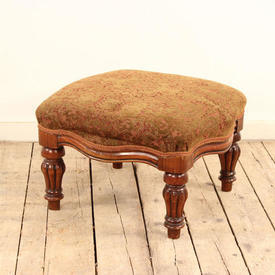 Mahogany Victorian Shaped Top Footstool Upholstered in Green And Red Brocade