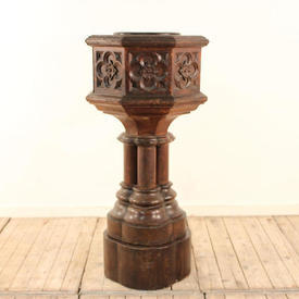 Carved Oak Font