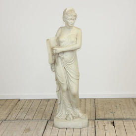 """Off White 4'4"""" Cast Resin Statue Of Female Figure with Open Book"""