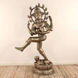 Floor Standing Silver Shiva 8 Arm Goddess
