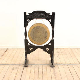 Metal Gong And Beater on Carved Wooden Stand