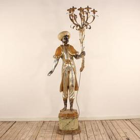 Blackamore Figures with Lights & Stands