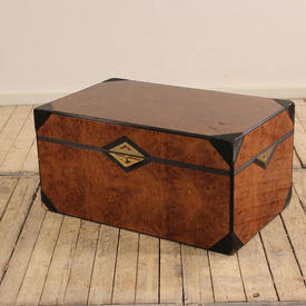 Dark Burr Maple Trunk with Black Tri Corners, Brass Handles And Pull Out Drawer