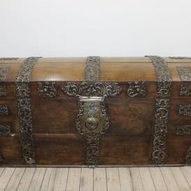 "5'2""  x  2'4"" Oak & Brass Dome Top Chest"