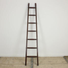 6' Freestanding Library Ladder with Leather Steps