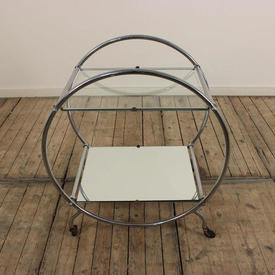 Chrome Circular Sided 2 Tier Deco Style Tea Trolley