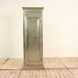 """4'  x  2'3""""  Embossed Silver indian 1- Door Hall Cupboard"""