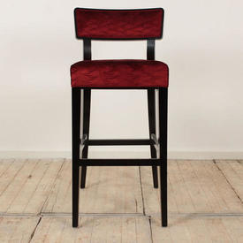Black Ash Bar Stools Uphol in Burgundy Velvet Seat/Back