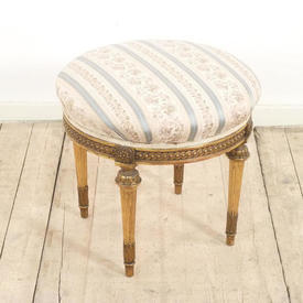 19Th Century French Giltwood Foot Stool Uphol in Regency Stripe