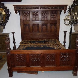 "7'6"" x  6'6"" Carved Oak Half Tester Bed with Lion Figures And Decorative Canopy, Complete with Mattress"