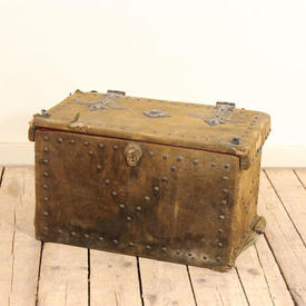 "20""  x  12"" Green Velvet Covered Chest with Brass Studs"