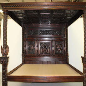 "6'10"" x  7'10"" Carved Oak Medieval 4-Poster Bed Complete with Mattress"