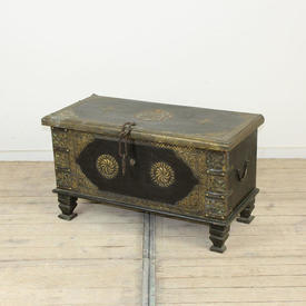 "2'10"" Oak & Embossed Brass Chest with Chain Handle"