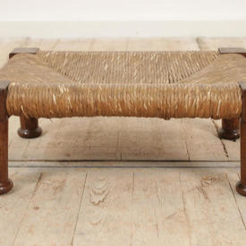 "16""  x  11"" Oak, Very Low Rush Seat Foot Stool"