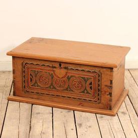 2' Light Oak Chest with Red & Green Painted inset