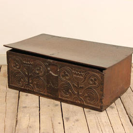 "26"" x  15"" Carved Oak 'Ab' Chest"