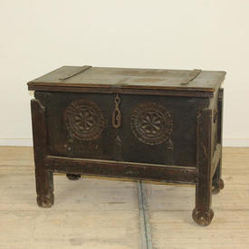 "3'2"" Stained Oak Chest on Legs with Carved Star Motif"