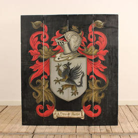 """3'11""""  x  3'5"""" Red Heraldic Painted Wooden Shield Wall Plaque"""