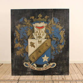 """3'11""""  x  3'5"""" Blue Heraldic Painted Wooden Shield Wall Plaque"""