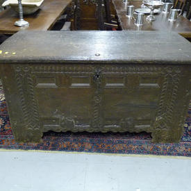 """Large 5'2"""" x  2'4"""" Carved Oak Panel Front Chest"""