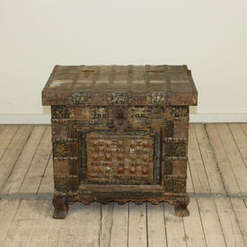 2' Hardwood & Brass Chest with Metal Lock
