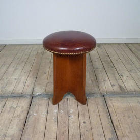 "18"" Circular Teak & Leather Studded Deco Style Stool"